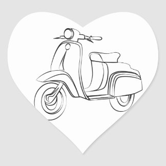 Vintage Scooter Heart Sticker