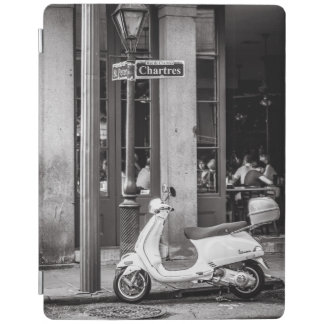 Vintage scooter in Paris France | Black and White iPad Cover