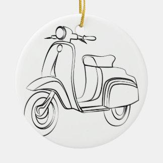 Vintage Scooter Round Ceramic Decoration