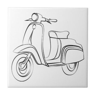 Vintage Scooter Small Square Tile