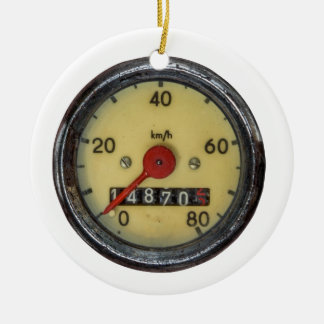 Vintage Scooter Speedometer Round Ceramic Decoration