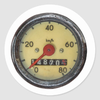 Vintage Scooter Speedometer Round Sticker