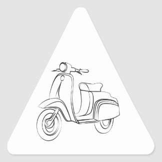 Vintage Scooter Triangle Sticker
