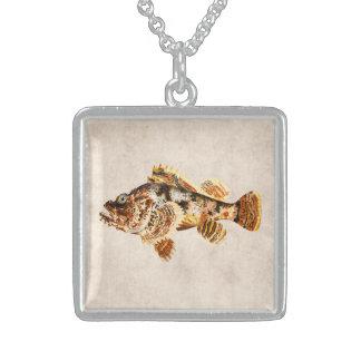 Vintage Scorpion Fish - Antique Hawaiian Print Sterling Silver Necklace