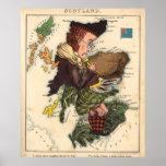 Vintage Scotland Bagpiper Map (1868) Poster