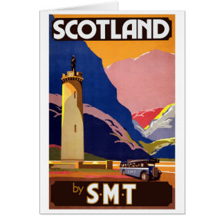 """Vintage Scotland Bus Company Travel Poster"" Card"