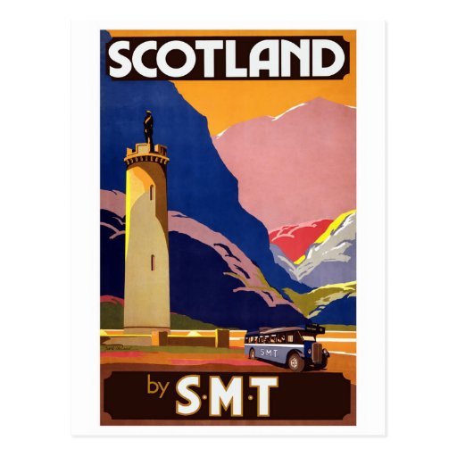 """Vintage Scotland Bus Company Travel Poster"" Postcards"