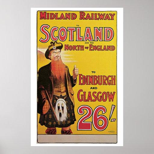 Vintage Scotland by train travel ad Print