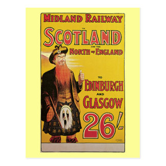 Vintage Scotland by train travel ad Print Postcards