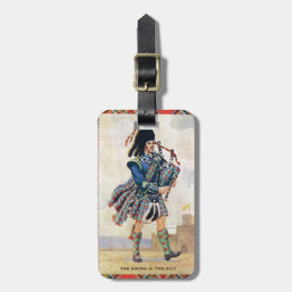 Vintage Scotland, Follow the Bagpipes Bag Tag