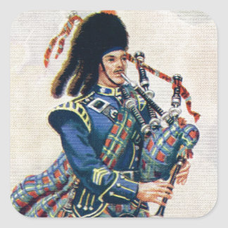 Vintage Scotland, Follow the Bagpipes Square Sticker