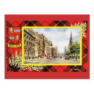 Vintage Scotland, Wallace tartan, Princes Street Postcard