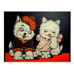 Vintage Scottie Dog and Cat Couple - Red and Black Postcards