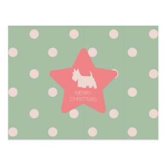 Vintage scottie on green and white dots postcard