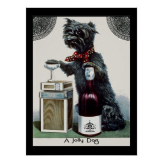 Vintage Scottie with Champagne Posters