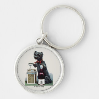 Vintage Scottie with Champagne Silver-Colored Round Key Ring