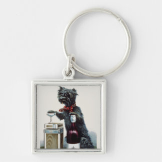 Vintage Scottie with Champagne Silver-Colored Square Key Ring