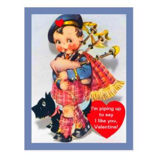 Vintage Scottish Bagpiper Valentine w/ Scotty Dog Postcard