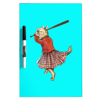 vintage scottish baseball playing cat dry erase board