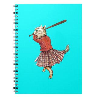 vintage scottish baseball playing cat spiral notebook
