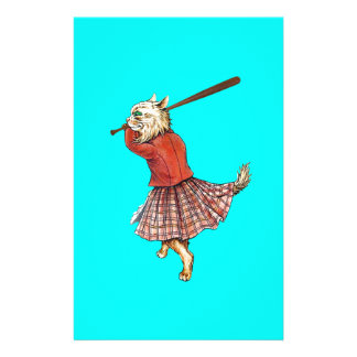 vintage scottish baseball playing cat stationery