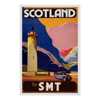 Vintage Scottish Bus Travel Poster