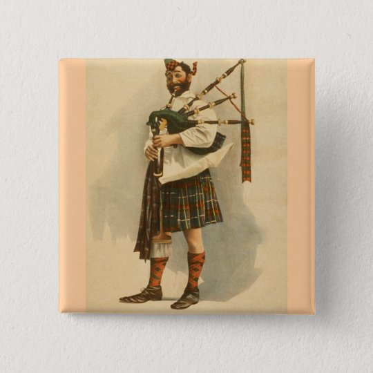 Vintage Scottish Highland BagPipe Player Kilt Man 15 Cm Square Badge