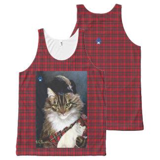 Vintage Scottish Highland Dress Cat Art Tank Top