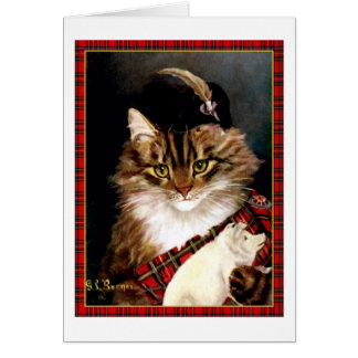 Vintage Scottish Highland Laddie Cat Art Card