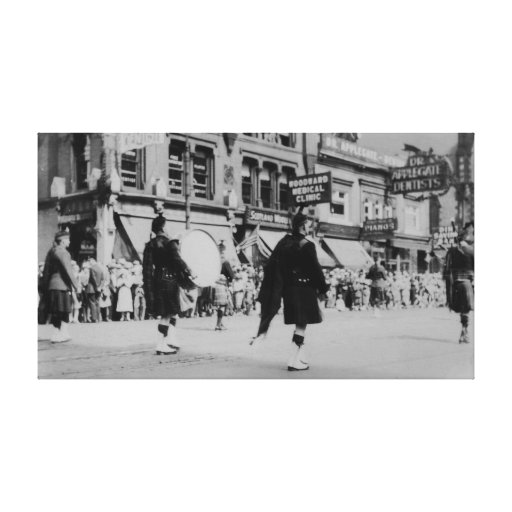 Vintage Scottish Marching Band Parade Canvas Stretched Canvas Prints