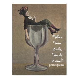 Vintage Scottish Proverb When Wine Sinks Postcard