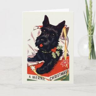 Vintage scottish christmas cards invitations zazzle vintage scottish terrier christmas greeting card m4hsunfo