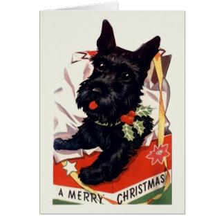 Vintage Scottish Terrier Christmas Greeting Card