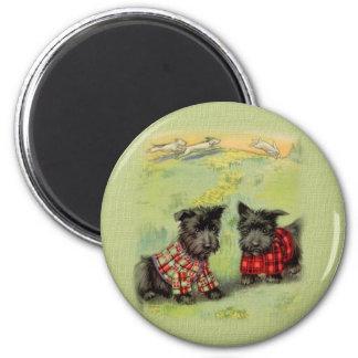 Vintage Scottish Terrier Round Magnet