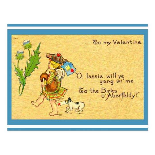 Vintage Scottish Valentine 1906 Bagpipes Dog Kilt Postcard
