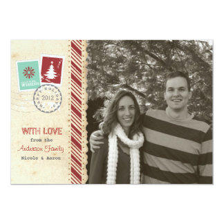 Vintage Scrapbook Holiday Card Personalized Invitations