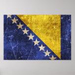 Vintage Scratched Flag of Bosnia-Herzegovina Poster