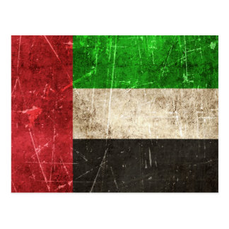 Vintage Scratched Flag of United Arab Emirates Postcard