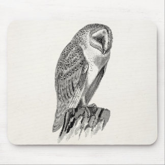 Vintage Screech Owl Bird Illustration Template Mouse Mat