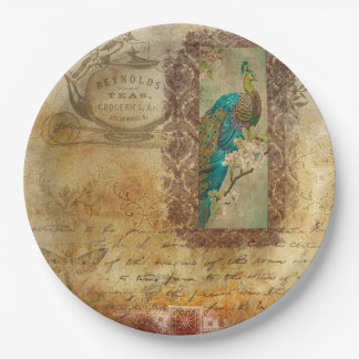 Vintage Script brown Turquoise Peacock Plates