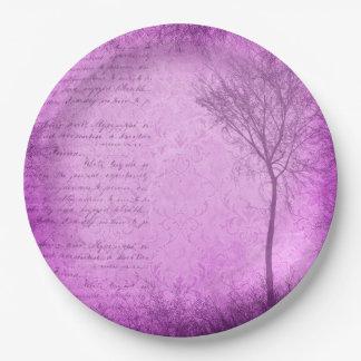 Vintage Script Purple  Tree Party Paper Plates