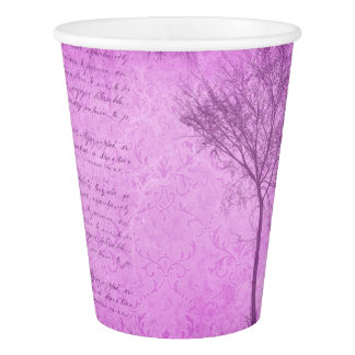 Vintage Script Purple  Tree Party Paper Plates Paper Cup