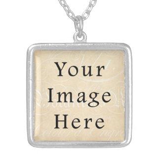 Vintage Script Text Tan Parchment Paper Background Silver Plated Necklace