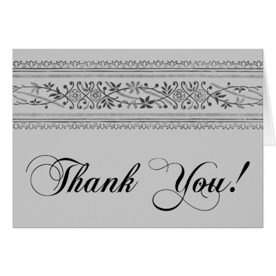 Vintage Script Thank You Note Card