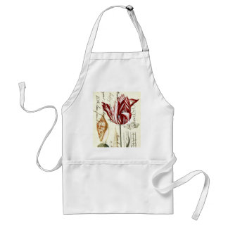 vintage scripts French Country Botanical Tulips Standard Apron