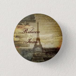 vintage scripts Paris Eiffel Tower Wedding favor 3 Cm Round Badge