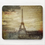 vintage scripts Paris Eiffel Tower Wedding Mouse Pad