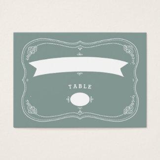 Vintage Scroll in Green Wedding Seating Card