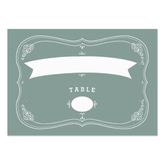 Vintage Scroll in Green Wedding Seating Card Business Card Template