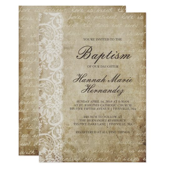 Vintage Scroll Lace Baptism Invitation